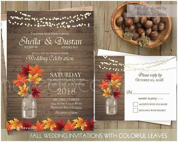 Rustic Fall Wedding Invitations Rustic Fall Wedding Invitation Set Fall By