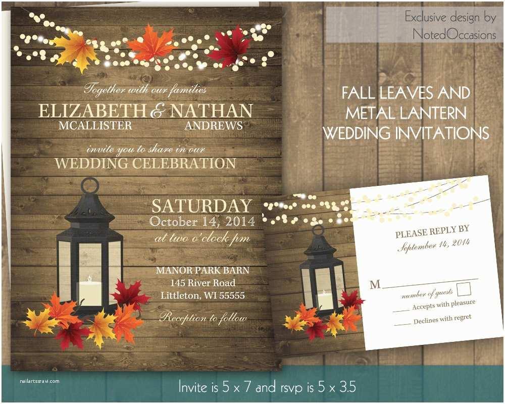 Rustic Fall Wedding Invitations Rustic Fall Wedding Invitation Set with Lantern by