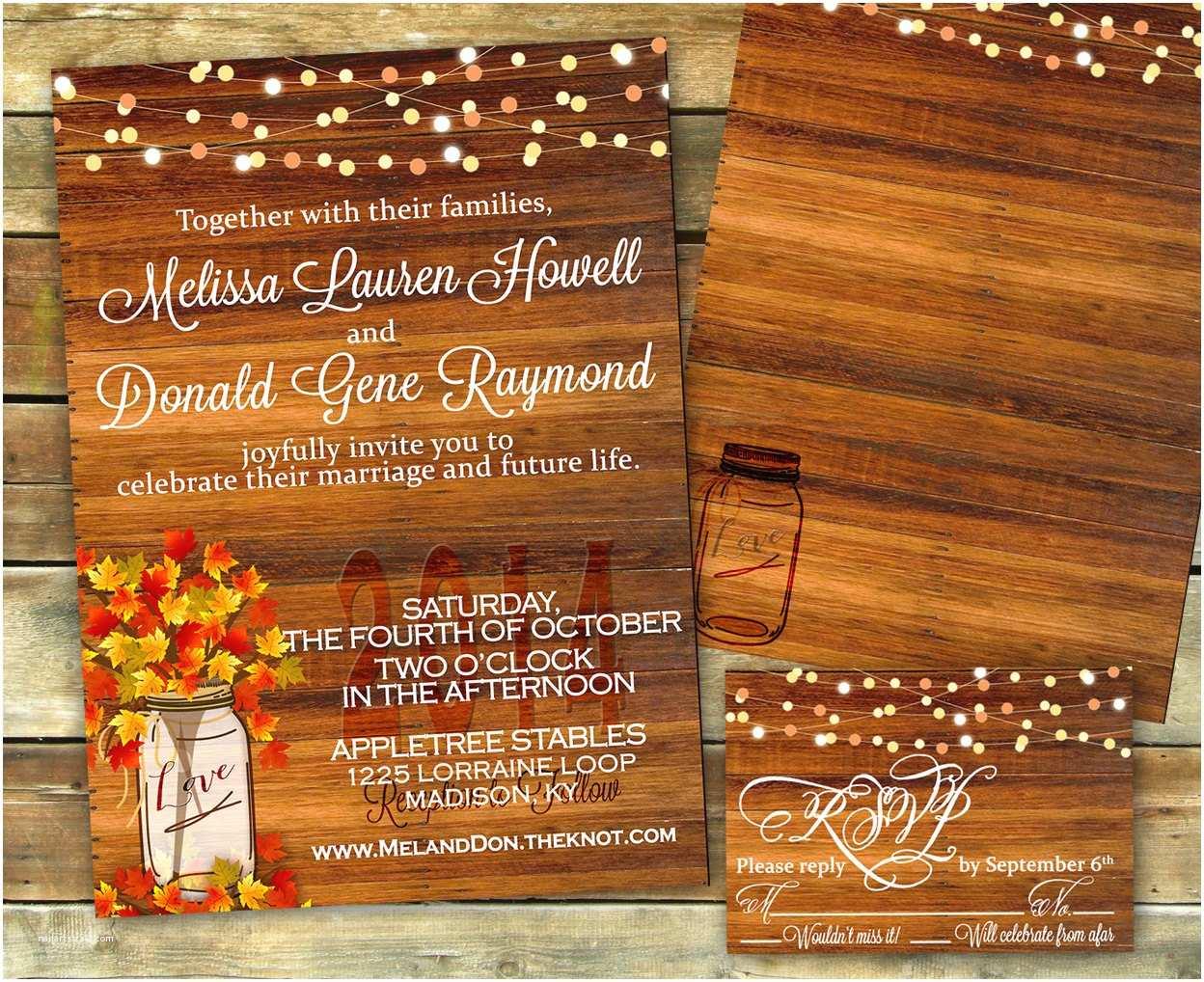 Rustic Fall Wedding Invitations Rustic Fall Wedding Invitation Shower Invitation Fall