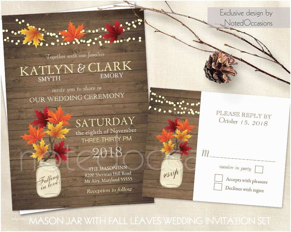 Rustic Fall  Invitations Rustic Fall  Invitations Set Mason Jar Country