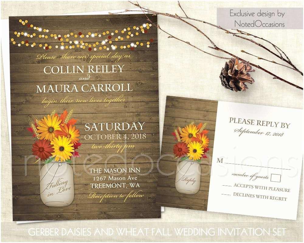 Rustic Fall Wedding Invitations Rustic Fall Wedding Invitations Set Printable