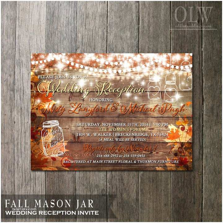 rustic fall wedding reception invitation