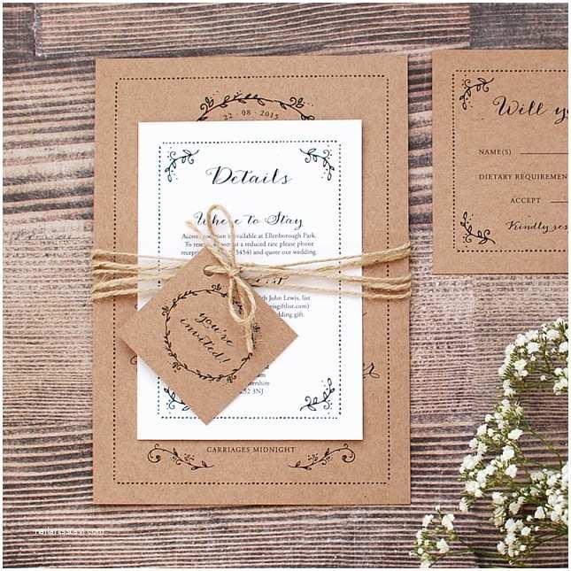 Rustic Fall Wedding Invitations Rustic Kraft Wedding Invitation With Leaf