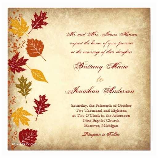 Rustic Fall Wedding  Rustic Leaves Autumn Fall Wedding