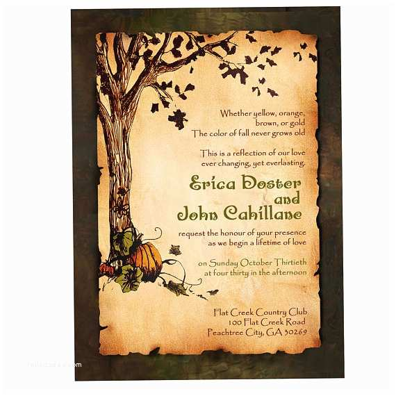 Rustic  Wedding Invitations Vintage Rustic Pumpkin And Autumn Tree Wedding Invitation