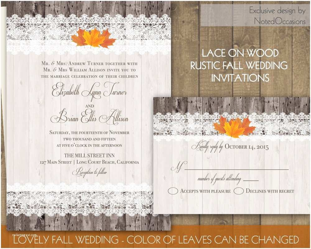 Rustic Fall Wedding Invitations Wood And Lace Rustic Fall Wedding Invitations