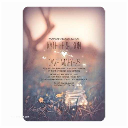 Rustic Garden Wedding Invitations Fireflies Mason Jar Rustic Garden Wedding Invites