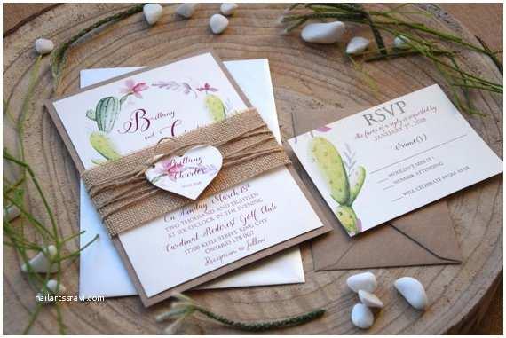 Rustic Garden Wedding Invitations Rustic Garden Wedding Invitation Floral Cactus Wedding