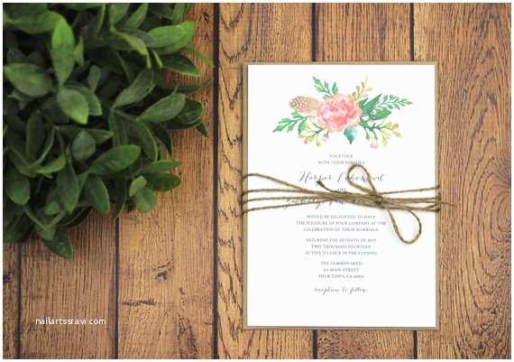 Rustic Garden Wedding Invitations Rustic Modern Wedding Invitation and Rsvp Template