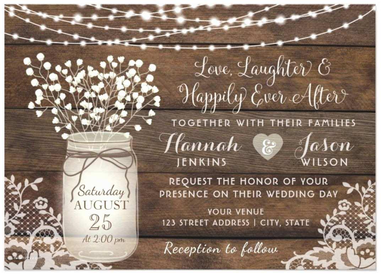 Rustic Garden Wedding Invitations Rustic Wood Lace Wedding Invitation Mason Jar Card