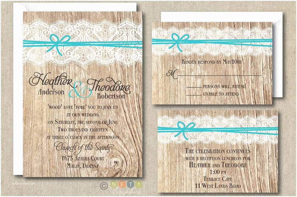 Rustic Lace Wedding Invitations 100 Personalized Rustic Lace and Ribbon Wedding Invitation