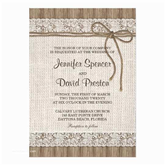 Rustic Lace Wedding Invitations Burlap and Lace Wedding Invitation Rustic Wedding Card