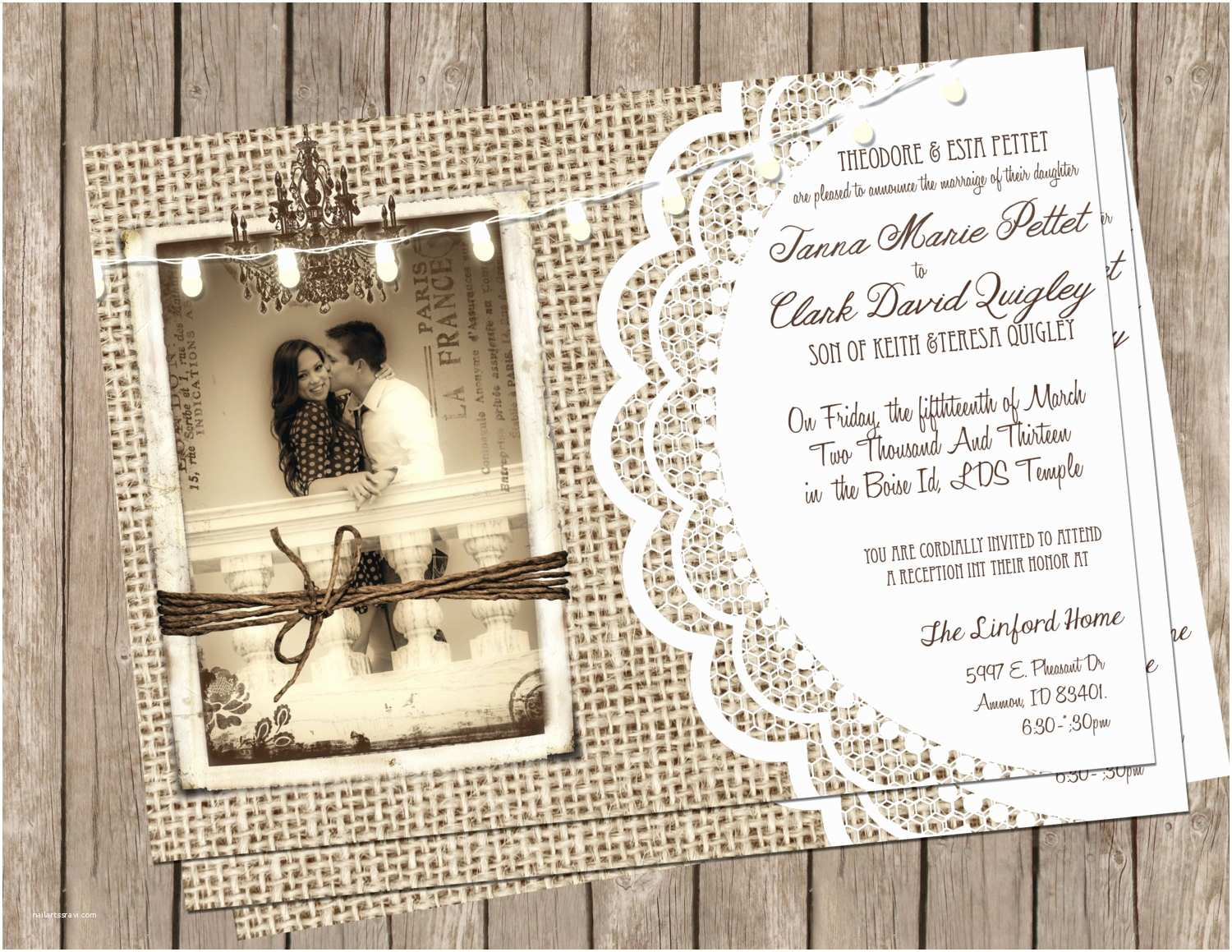 Rustic Lace Wedding Invitations Chandeliers & Pendant Lights