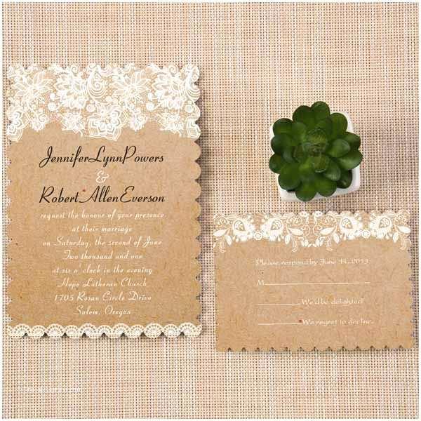 Rustic Lace Wedding Invitations Chic Rustic Lace Bracket Scallop Wedding Invitations