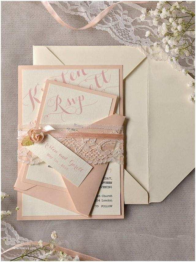 Rustic Lace Wedding Invitations Custom Listing 20 Ivory Peach Wedding Invitation