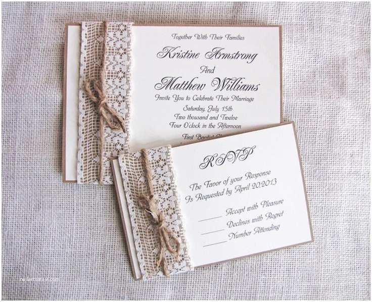 Rustic Lace Wedding Invitations Handmade Rustic Lace and Burlap Wedding Invitation Suite N