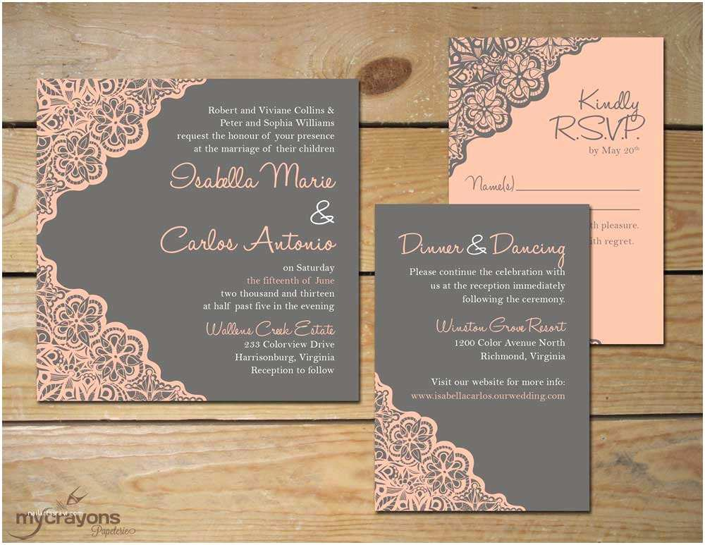 Rustic Lace Wedding Invitations Kitchen & Dining