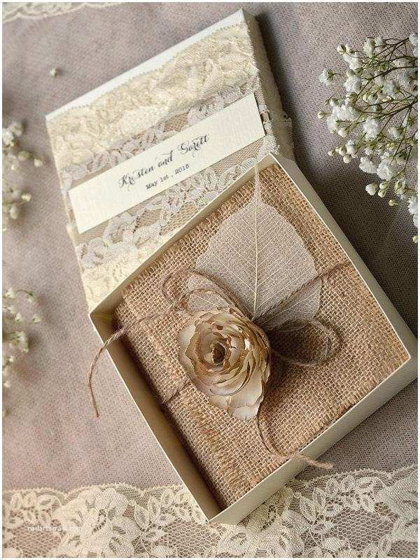 Rustic Lace Wedding Invitations Lace Burlap Wedding Invitations 10 Vintage Wedding