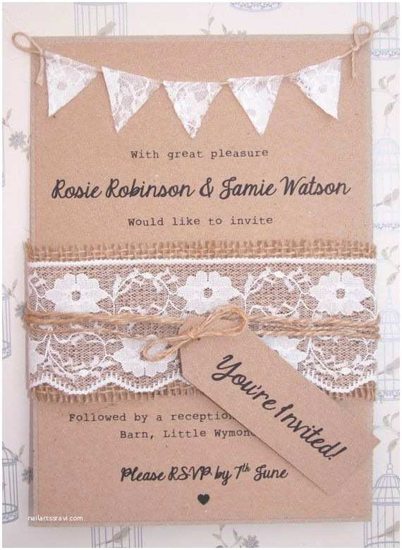 Rustic Lace Wedding Invitations Lace Rustic Wedding Invitation Lace Bunting On Kraft Card