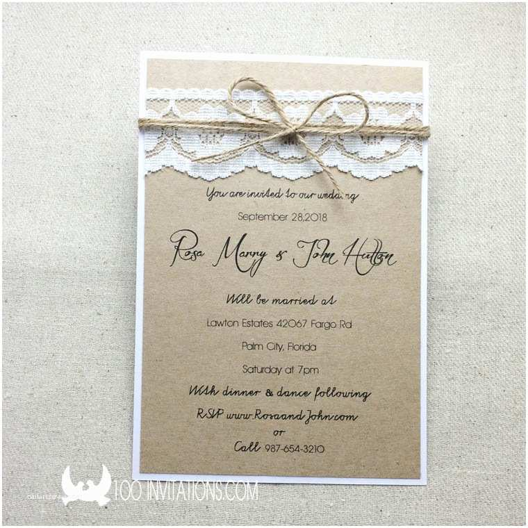 rustic lace wedding invitation plain two layers with twine bow p 3363