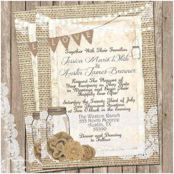 Rustic Lace Wedding Invitations Rustic Burlap and Lace Wedding Invitation Invite Mason