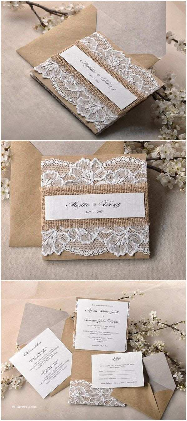 Rustic Lace Wedding Invitations Rustic Country Burlap and Lace Wedding Invitations