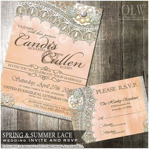 Rustic Lace Wedding Invitations Rustic Lace Wedding Invitation and Rsvp Card Rustic Peach