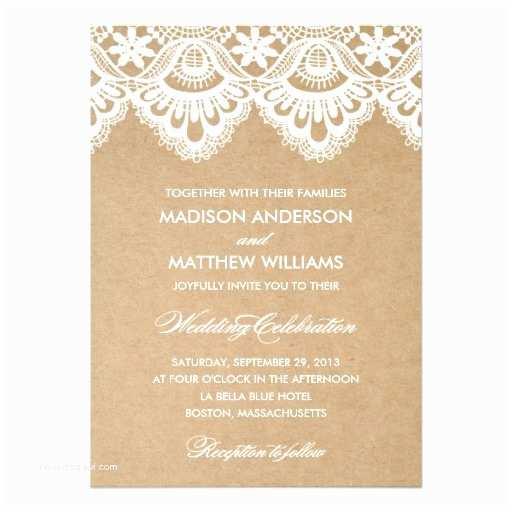 Rustic Lace Wedding Invitations Rustic Lace Wedding Invitation