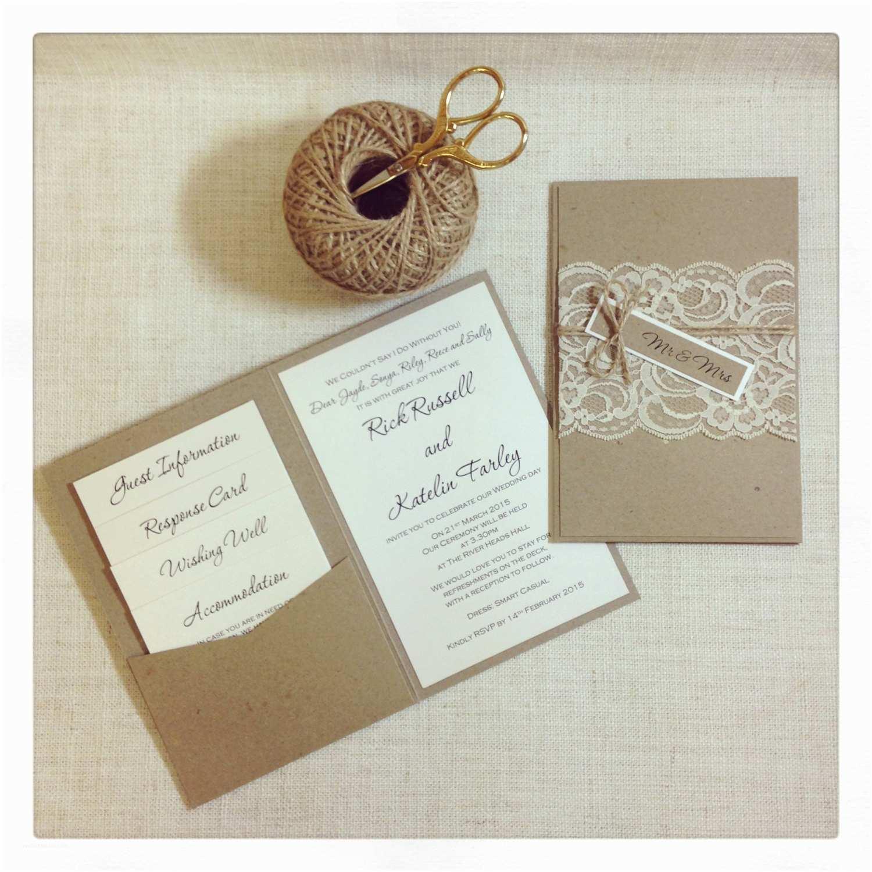 Rustic Lace Wedding Invitations Rustic Lace Wedding Invitation Sample
