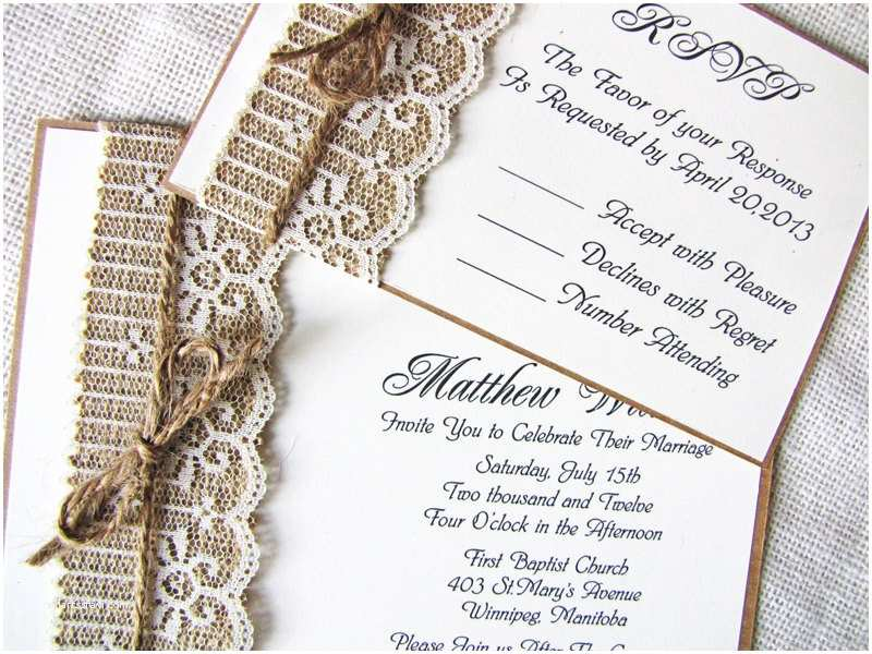 Rustic Lace Wedding Invitations Rustic Lace Wedding Invitations – so Romantic