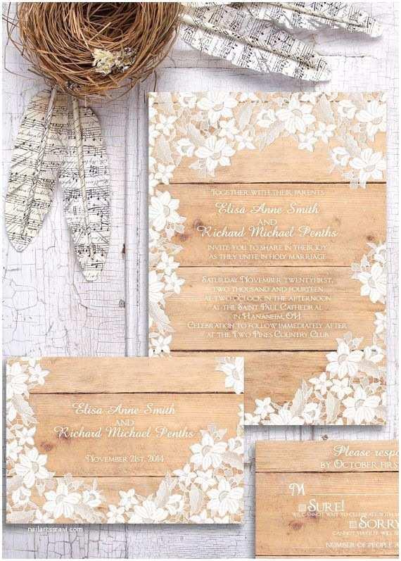 Rustic Lace Wedding Invitations Rustic Wedding Invitation Wood and Lace Wedding