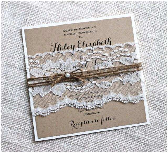 Rustic Lace Wedding Invitations Rustic Wedding Invitations Lace Wedding Invitation Kraft