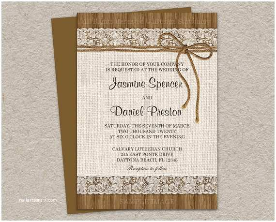 Rustic Lace Wedding Invitations Rustic Wedding Invitations with Burlap Lace and Twine Diy