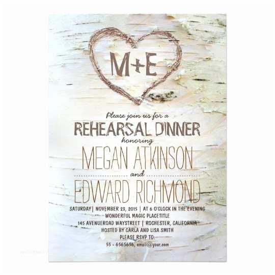 birch tree heart rustic rehearsal dinner invites