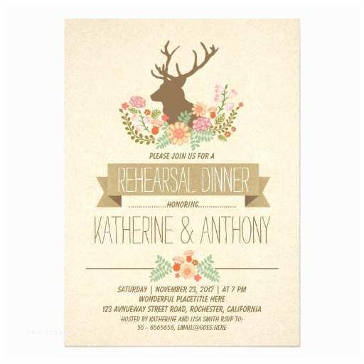 Rustic Rehearsal Dinner Invitations Deer Antlers Romantic Rustic Rehearsal Dinner 5x7 Paper