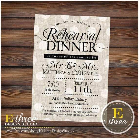 Rustic Rehearsal Dinner Invitations Rehearsal Dinner Invitations Rustic Black and Gray Linen