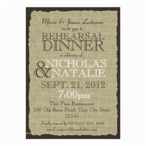 Rustic Rehearsal Dinner Invitations Rustic Country Burlap Rehearsal Dinner Announcements