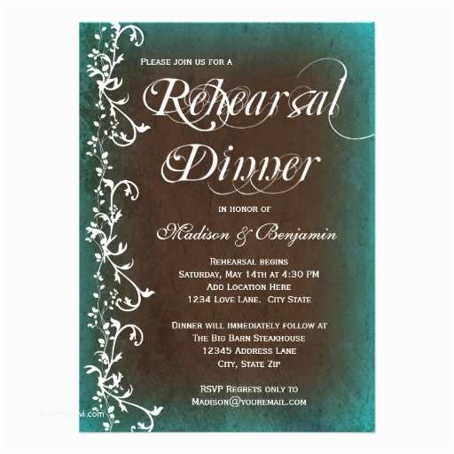 "Rustic Rehearsal Dinner Invitations Rustic Turquoise Brown Rehearsal Dinner Invitation 4 5"" X"