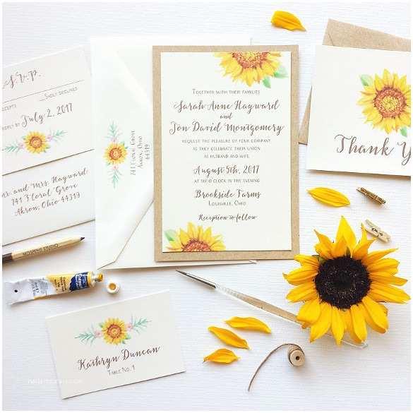 Rustic Sunflower Wedding Invitations 21 Sunflower Wedding Invitation Templates – Free Sample