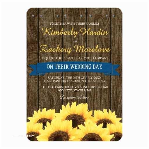Rustic Sunflower Wedding Invitations Cobalt Blue Rustic Sunflower Wedding Invitation