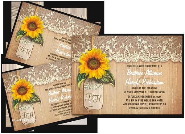 Rustic Sunflower Wedding Invitations Mason Jar Wedding