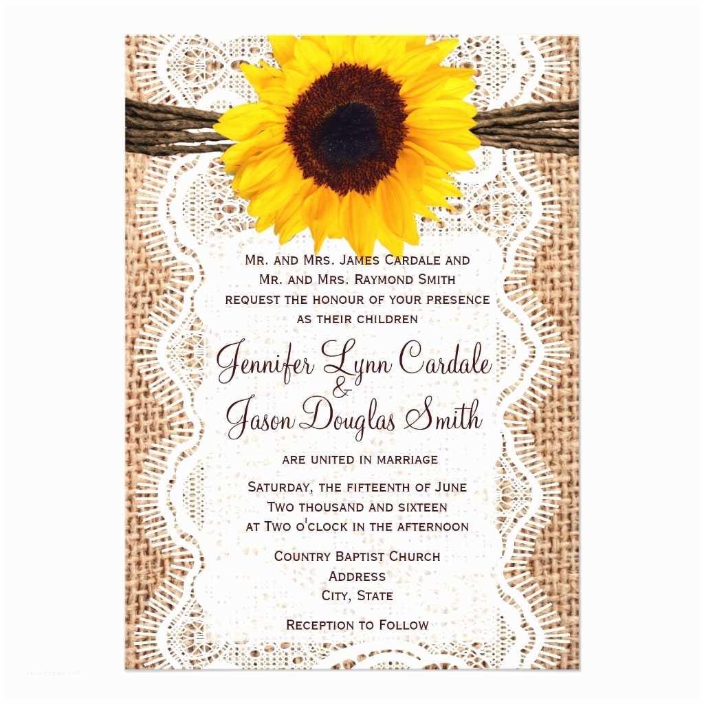 Rustic Sunflower Wedding Invitations Rustic Burlap Lace Twine Sunflower Wedding Invites Invitations