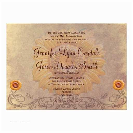 Rustic Sunflower Wedding Invitations Rustic Country Sunflower Wedding Invitations