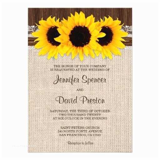 Rustic Sunflower Wedding Invitations Rustic Country Sunflower Wedding Invitations