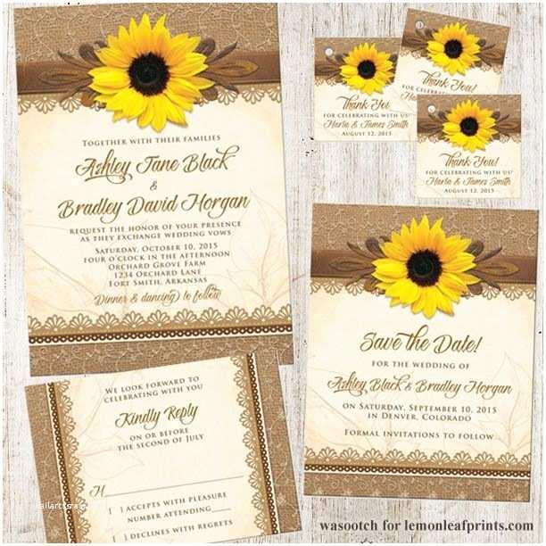 Rustic Sunflower Wedding Invitations Rustic Sunflower Burlap and Lace Wedding Invitation