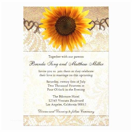 Rustic Sunflower Wedding Invitations Rustic Sunflower Twine Wedding Invitation