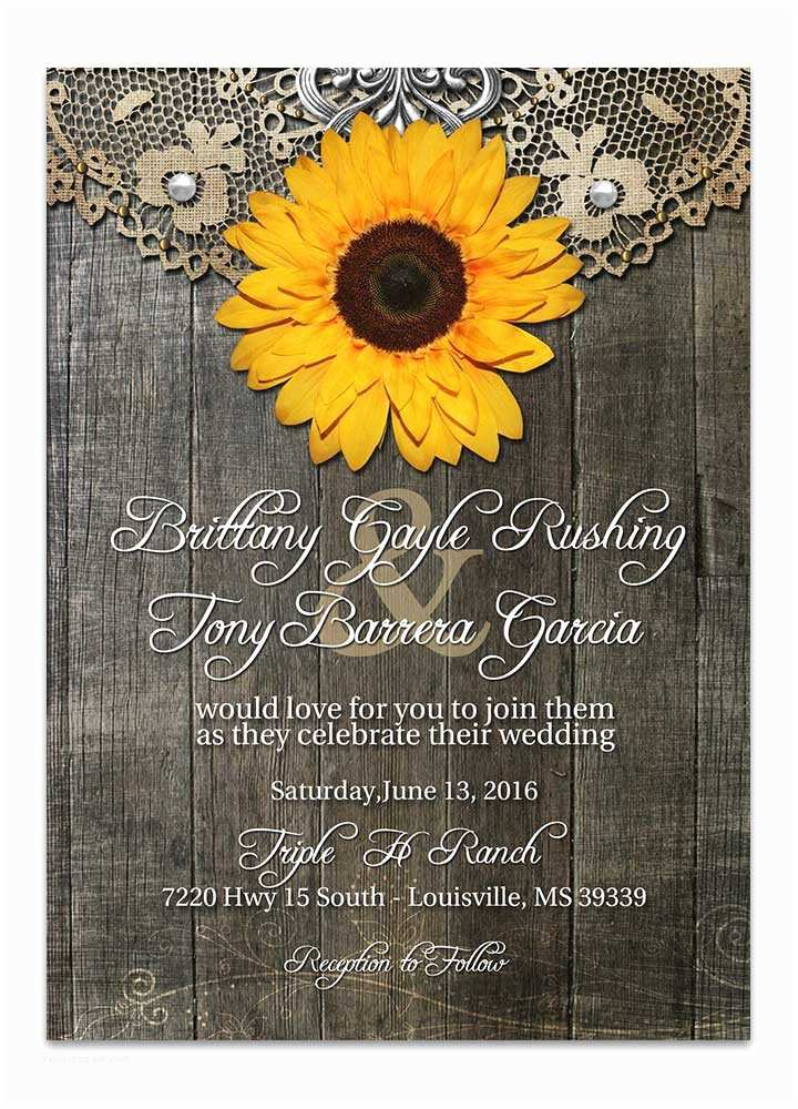 Rustic Sunflower Wedding Invitations Rustic Sunflower Wedding Invitation Odd Lot Paperie