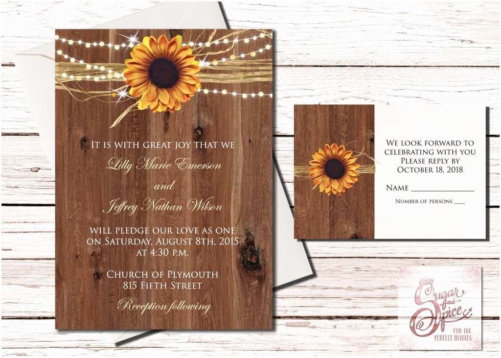 Rustic Sunflower Wedding Invitations Rustic Sunflower Wedding Invitation