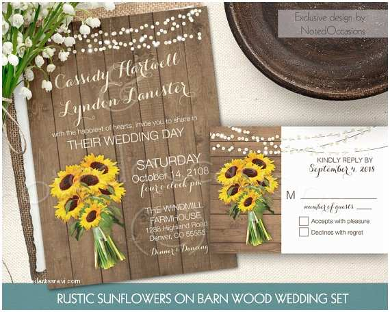 Rustic Sunflower Wedding Invitations Rustic Sunflower Wedding Invitation Set Suite by