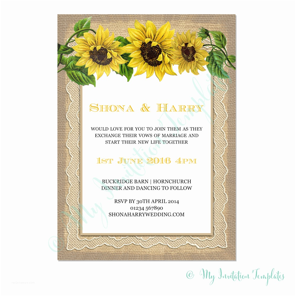 Rustic Sunflower Wedding Invitations Rustic Sunflower Wedding Invitation Template